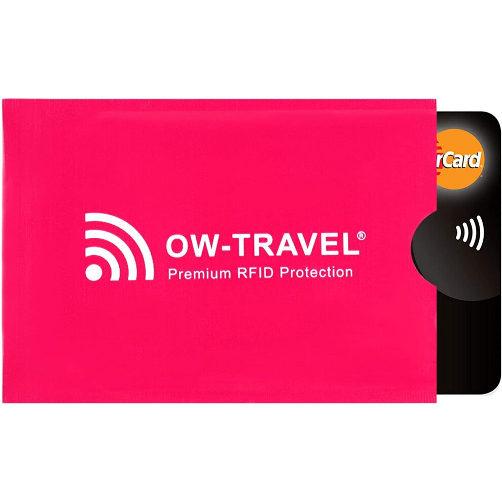 (Pink 1 Credit Card Sleeve) RFID Card Protector Sleeves and Passport Cover.OW-Travel Contactless Card Protector.RFID Blocking Card and Credit Card Pro