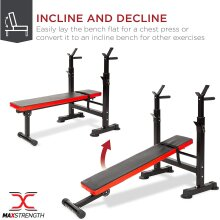 Adjustable Exercise Weight Bench Barbell Dip Station Lifting Home Gym Workout