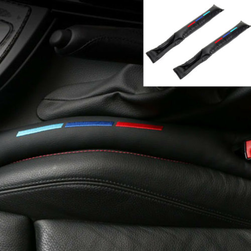 2pc Sports Car Seat Gap Filler Black PU Leather Accessory Spacer For BMW