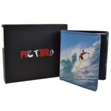 Mens Tri-Fold Leather Surfer Wallet by Retro Surfing Gift Box Golunski Wave