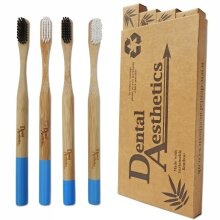 Set of 4 Bamboo Toothbrushes ~ Adult Medium Firm Bristles Black & White, Eco Friendly Bio-Degradable