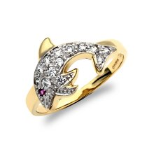Jewelco London Ladies Solid 9ct Yellow Gold Red and White Round Brilliant Cubic Zirconia Pave Dolphin Ring