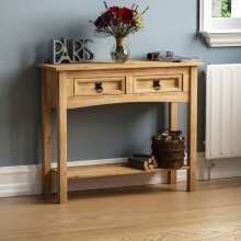 Corona 2 Drawer Console Table With Shelf Hallway Side Dressing Table