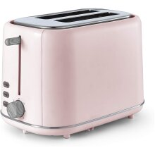 Tower T20027PNK Scandi 800W 2 Slice Toaster , Pink with Wood Accents