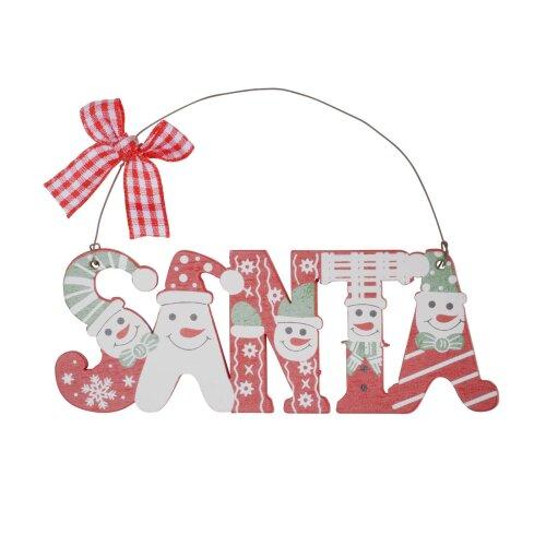 3pc Wooden Santa Word Hanging Christmas Tree Decorations Ornaments Xmas Festive