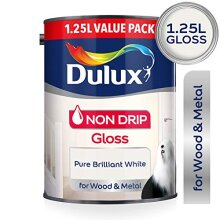 Dulux Non Drip Gloss Paint For Wood/Metal -Pure Brilliant White 1.25L