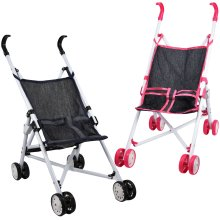 The Magic Toy Shop Baby Doll Foldable Pink / Blue Stroller Buggy Jogger Dolls Pram Accessories Toy