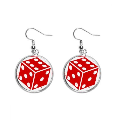 Casino Red Dice Illustration Pattern Ear Dangle Silver Drop Earring Jewelry Woman