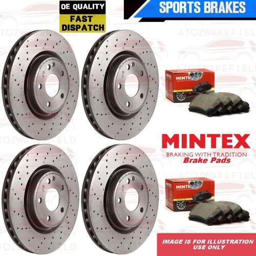 FOR BMW 5 6 7 SERIES FRONT REAR DRILLED BRAKE DISCS MINTEX PADS WIRE SENSORS