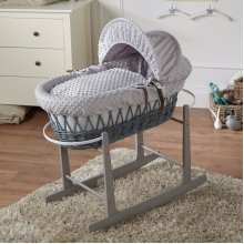 Grey Dimple Bedding & Wicker Rocking Moses Basket