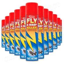 12 x Sanmex Fly & Wasp Killer Spray 300ml