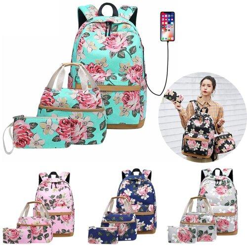 3pcs USB Teen School Backpack Flowers Shoulder Bag