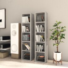 vidaXL 2x CD Cabinets Concrete Grey Chipboard Media Storage Rack Unit Bookcase