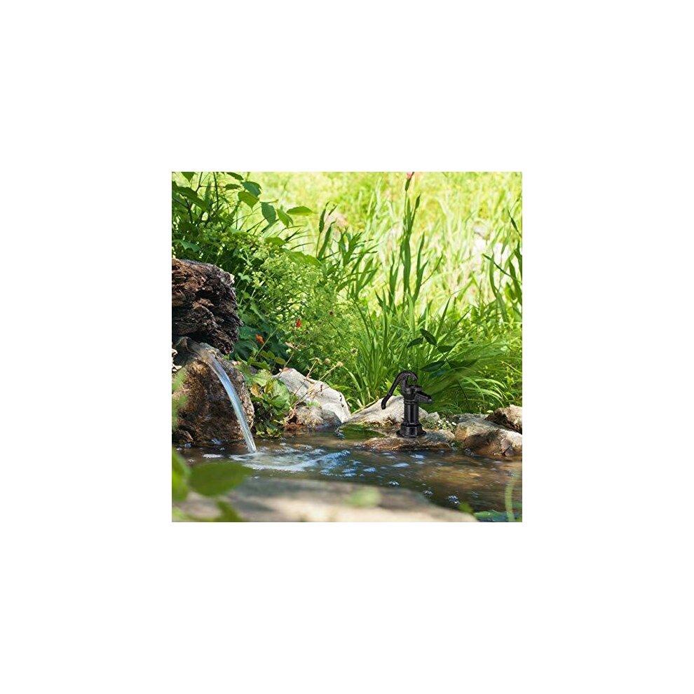 Hand Pump Mini Water Weatherproof Garden Ornament Antique Design Black Relaxdays Decorative Cast Iron