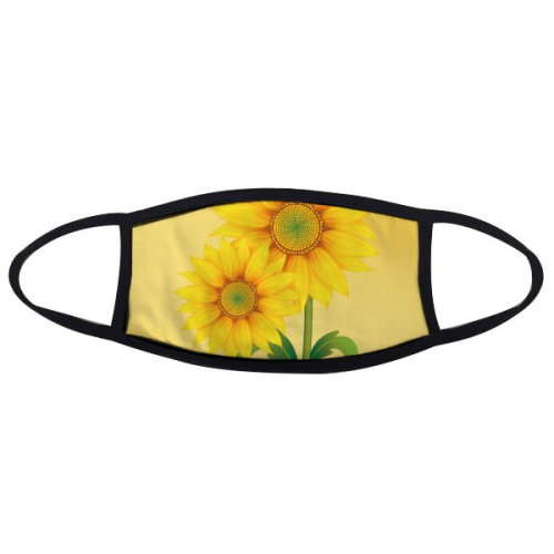 Yellow Sunflower Greenery Flower Plant Mouth Face Anti-dust Mask Anti Cold Warm Washable Cotton Gift