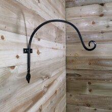 Tom Chambers Heavy Duty Handcrafted Metal 38cm Black Wall Bracket Hook For Garden Hanging Basket Bird Feeder