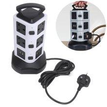 Switched Surge Extension Lead Plug Tower Multi 10 Socket 4 USB Port