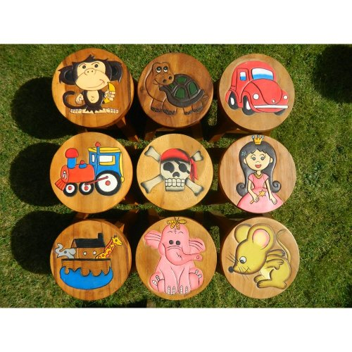 Childs Childrens Wooden Stool Hand Made