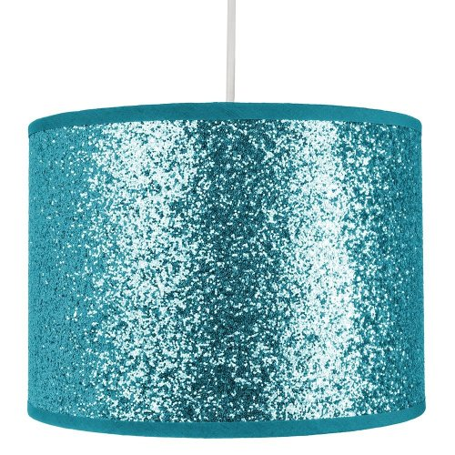 Modern and Designer Bright Teal Glitter Fabric Pendant/Lamp Shade 25cm Wide by Happy Homewares