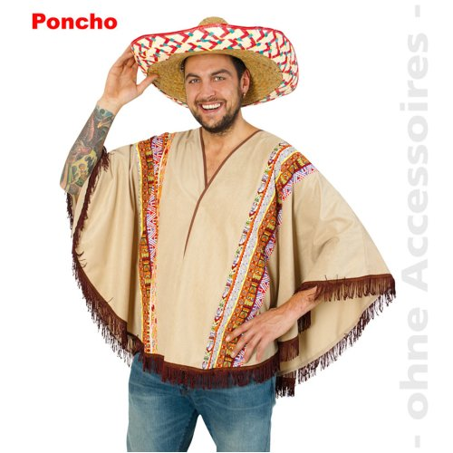 Western Wild West Indian Poncho Mexican Costume Men Size UNI