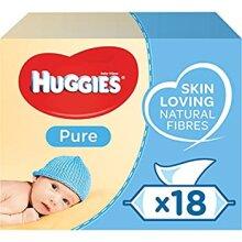 Huggies Pure Baby Wipes - 18 Pack (56 Wipes Per Pack 1008 Wipes Total)
