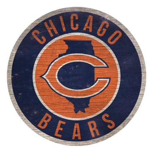 Fan Creations 7846020209 Chicago Bears Sign Wood 12 in. Round State Design
