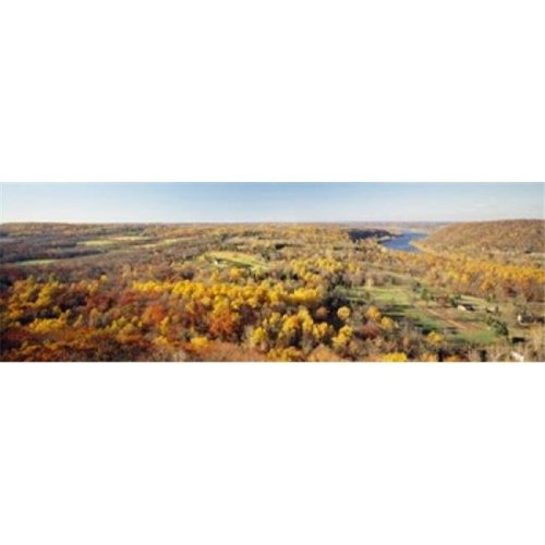 Aerial view of a landscape  Delaware River  Washington Crossing  Bucks County  Pennsylvania  USA Poster Print by  - 36 x 12