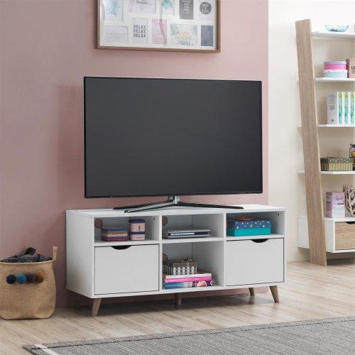 Pulford Scandi TV Unit Stand Cabinet 2 Drawer + Shelf White Media Cabinet