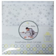 BreathableBaby Mesh Cot Liner- Grey Stars