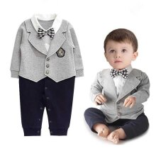 Baby Boy One Piece Wedding Christening Formal Gentleman Romper Outfit Suit