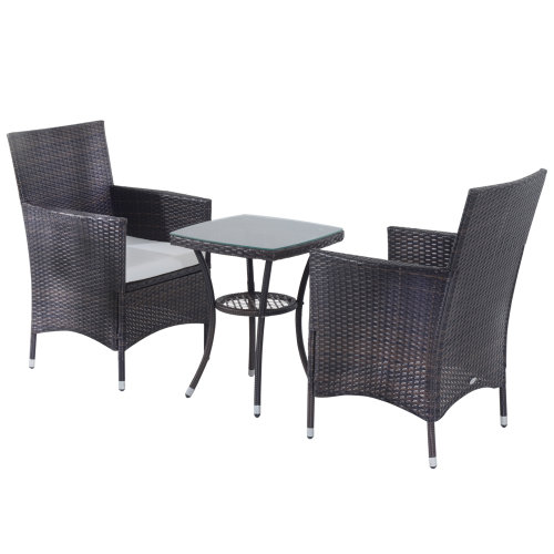 Outsunny Rattan Garden Furniture Set | Set of Rattan Chairs With Table