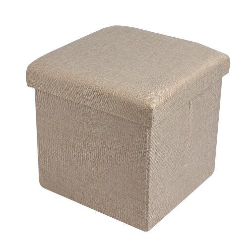 (Beige) Folding Storage Cube & Footstool