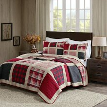 Woolrich Reversible Quilt Cabin Lifestyle Design All Season Breathable Coverlet Bedspread Bedding Set Matching Shams Full/Queen92x96 Plaid Red 3 Piece