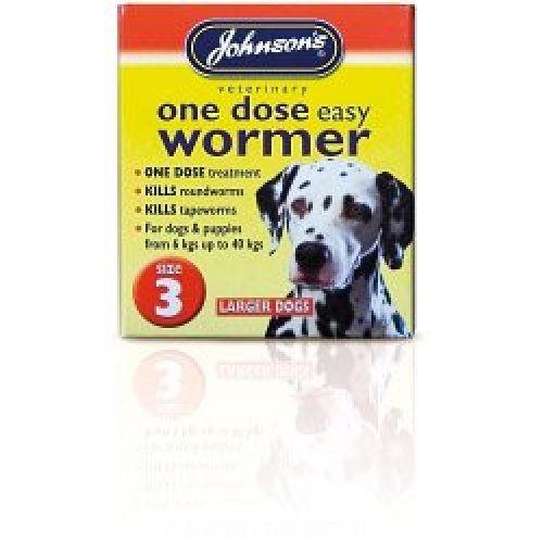 Size 3 One Dose Dogs Easy Wormer - Johnsons Tablets Dog -  johnsons wormer dose one easy tablets dog dogs size 3