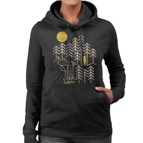 Night Forest Bear Women's Hooded Sweatshirt