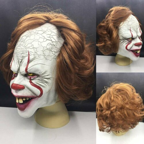Pennywise IT Clown Mask Game Latex Scary Adult Halloween Costumes Party Props