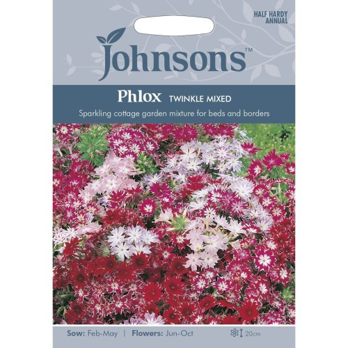 Johnsons Seeds - Pictorial Pack - Flower - Phlox Twinkle Mixed - 200 Seeds