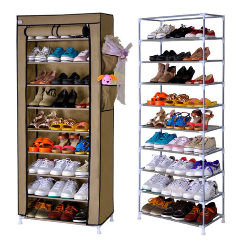 10 TIER SHOES CABINET STORAGE ORGANISER SHOE RACK STAND HOLDS 27 PAIR