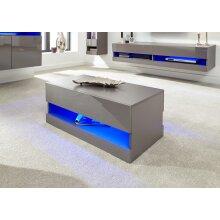 Galicia High Gloss Modern Coffee Table with Blue LED Lights - Grey