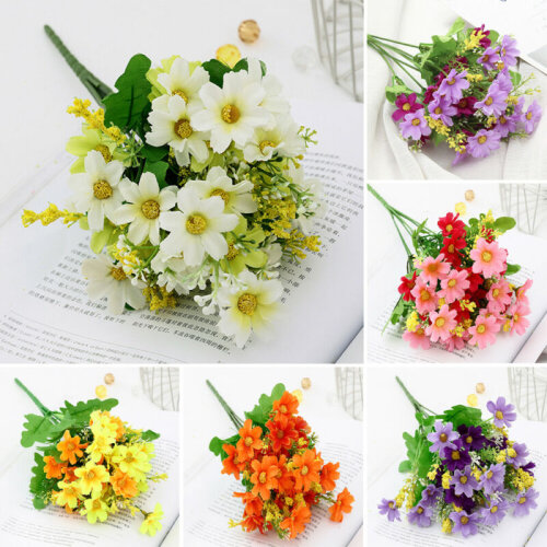 ARTIFICIAL SILK 28 HEAD DAISY FLOWERS BUNCH Wedding Grave Bouquet Home Decor