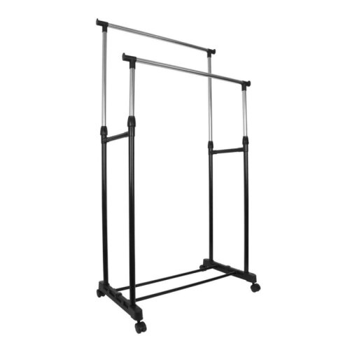 Black Adjustable Double Clothes Rail | Garment Hanging Stand