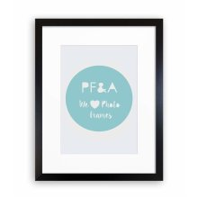"""14x11"""" For 10x7"""" Picture - Oxford Black Photo Frame With Soft Cream Mount - Glass Window"""