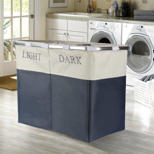 Vinsani Lights and Darks Folding Laundry Sorter Basket Box Bag Bin Hamper Washing Cloths Storage 2 Compartments, Metal - Grey