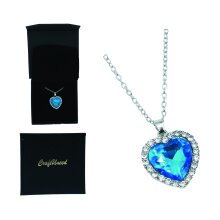 Craftuneed women classic zircon stone blue ocean heart pendant necklace