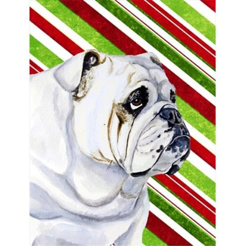 11 x 15 in. Bulldog English Candy Cane Holiday Christmas Garden Size Flag