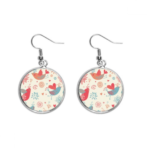 Bird Flower Flower Plant Paint Ear Dangle Silver Drop Earring Jewelry Woman