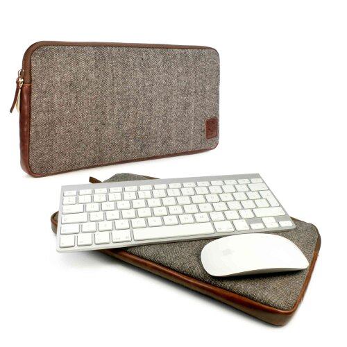 TUFF LUV Tweed Travel Case for Apple Bluetooth Magic Mouse and Keyboard -Brown