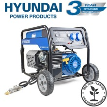 Hyundai HY10000LE-LPG. The 7.0kW/8.75kVA* Recoil and Electric Start Dual Fuel Site Petrol/LPG Generator