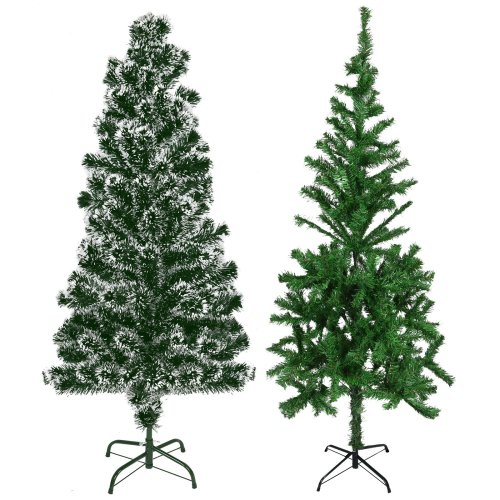 Artificial Green Xmas Trees 2/4/5/6/7ft Festive Snow Tipped Christmas Decoration