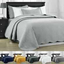 QUILTED BEDSPREAD BED THROW 3PCS BEDDING SET